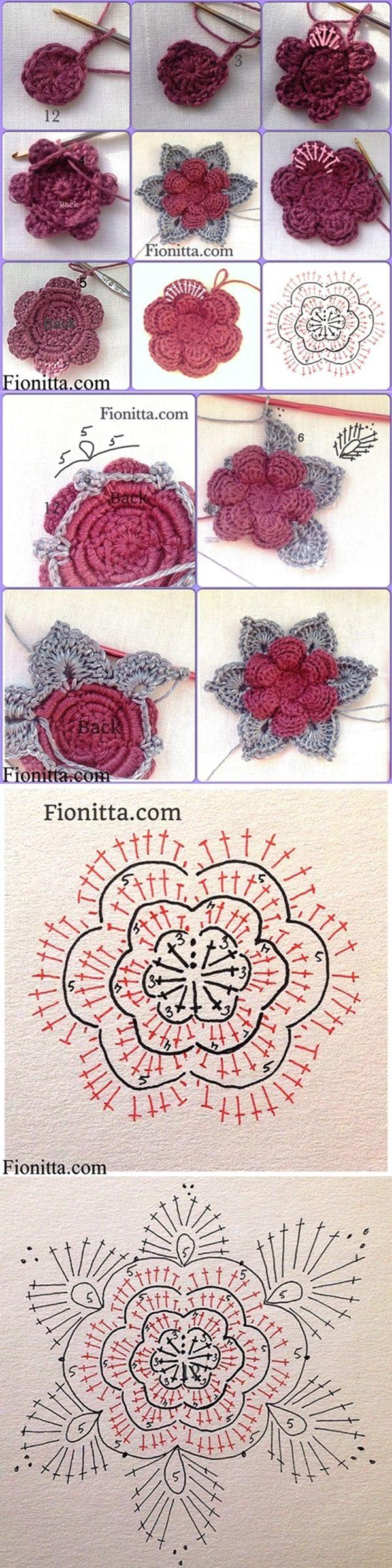 DIY 3D Crochet Rose. •✿• Teresa Restegui http://www.pinterest.com/teretegui/ •✿•