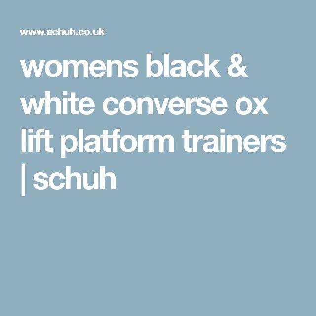 womens black & white converse ox lift platform trainers   schuh
