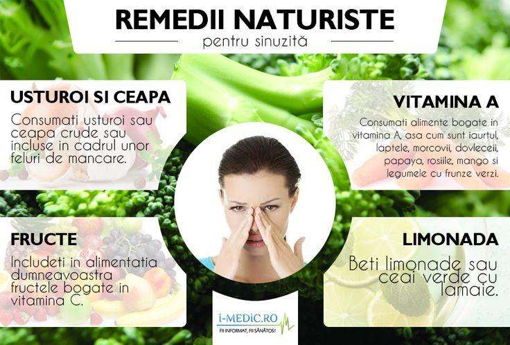 Sinuzita reprezinta inflamatia unuia sau mai multor sinusuri (sinusuri paranazale), ca urmare a unei infecii sau reactii alergice.  http://www.i-medic.ro/remedii/remedii-naturiste-pentru-sinuzita