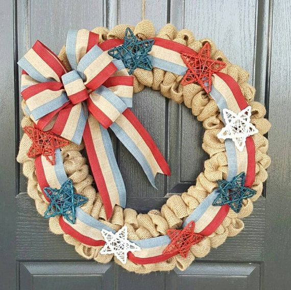 Check out this item in my Etsy shop https://www.etsy.com/listing/524006157/american-flag-wreath-4th-of-july-wreath