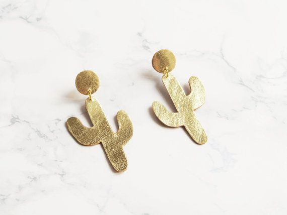 Handmade gold leather cactus earrings by BenuMade on Etsy