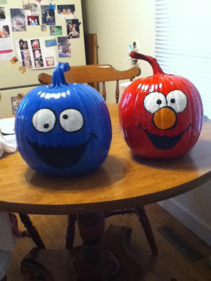 Cookie Monster and Elmo Halloween pumpkins! Woohoo! Finally finished. Not too shabby! Just some spray paint, and acrylics. Voila!