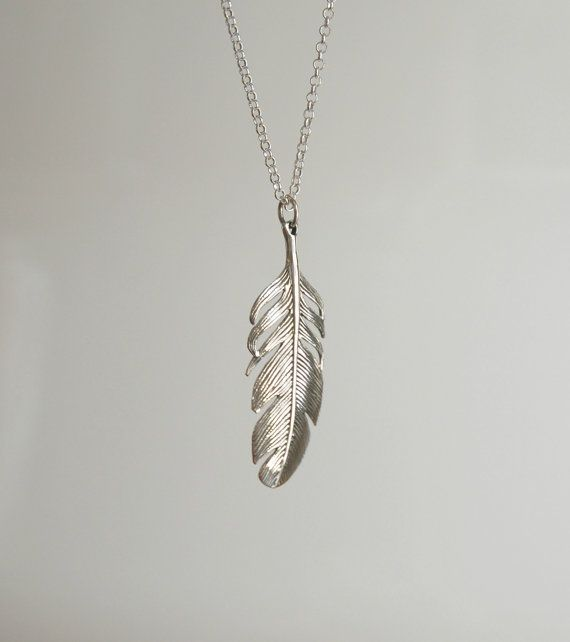 Sterling silver feather necklace large feather by crashandduchess