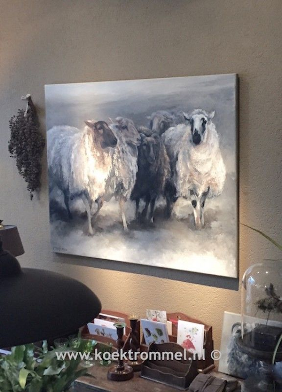 schilderij met schapen