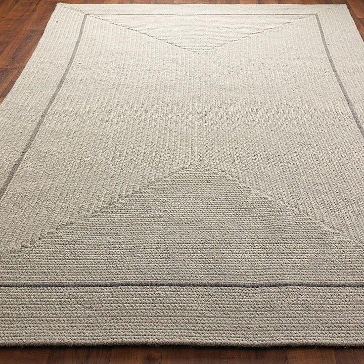 Eco Friendly Braided Wool Pinstripe Framed Rug