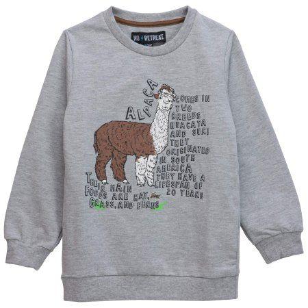No Retreat Boys' Long Sleeve Llama Fact Sweatshirt, Size: 18/20, Gray