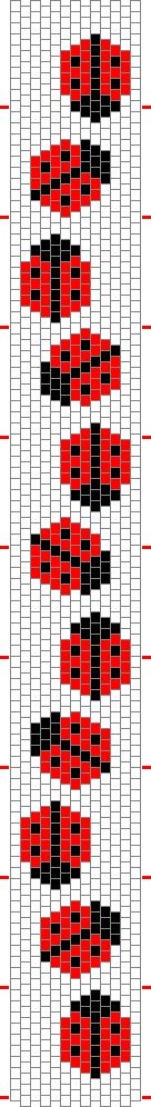 Cross-stitch Ladybug garland bookmark... no color chart available, just use the pattern chart as your color guide.. or choose your own colors...