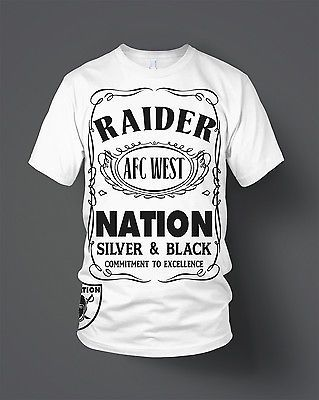Oakland Raiders Raider Nation T-Shirt (New) White & Black