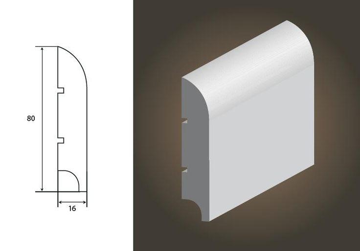 Listwa przypodłogowa mdf biała Classic R20 Lagrus 80x16, Parkiet podłoga deska tarasowa listwy sklep Fulmen