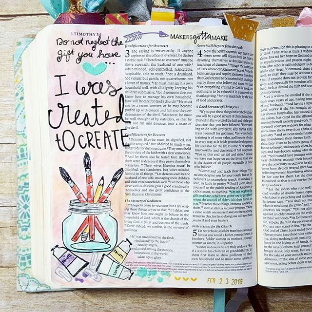 I am absolutely loving this #createdtocreate devotional by @illustratedfaith over at @dayspringcards. If you are new to journaling in your Bible this is a great one to pick up and help guide you as you start on your adventure of journaling or if you've been journaling already this is a great one to keep you focused on your relatoionship with Christ while illustrating in your Bible. Creating in my Bible has completely changed my spiritual walk and I'm excited to see it doing the same for so…