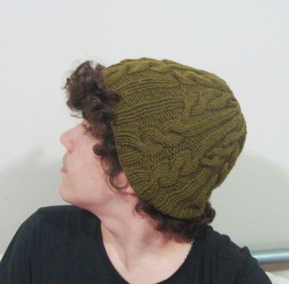Hand Knit Men Hat in Moss Green Men Wool Winter Hat by earflaphats, $39.99