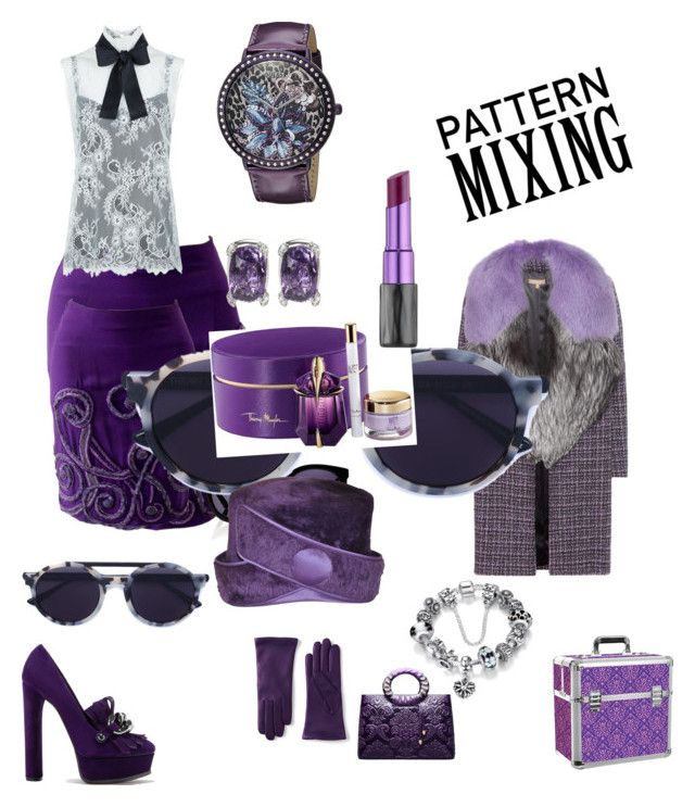 """""""Violet"""" by julianna-gyongyi ❤ liked on Polyvore featuring Versace, Philosophy di Lorenzo Serafini, Michael Kors, Casadei, Lands' End, Karen Walker, Thierry Lasry, Thierry Mugler, Anakao and GUESS"""