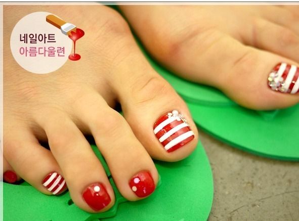 Red and white toe nails