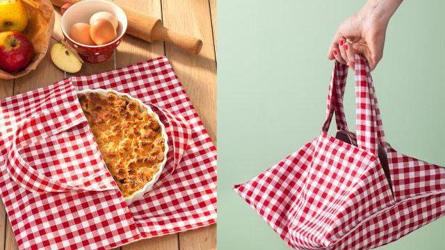 Apprenez à confectionner ce joli sac en tissu avec les ateliers Bobines & Combines, pour transporter vos tartes et les garder bien au chaud !