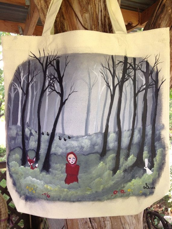 Fairytale Forest Tote Handpainted medium canvas by InkyDreamz, $25.00