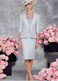 Etui-Linie U-Ausschnitt Knielang Satin Kleid für die Brautmutter mit Perlenstickerei Applikationen Spitze