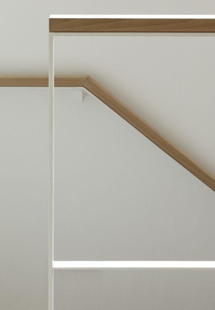 Stair rail, Mita Residence / YJP Architecture. white steel american oak