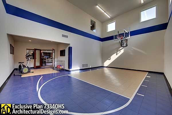 Plan 73340hs dad 39 s dream home plan bar games exercise for Basement sport court