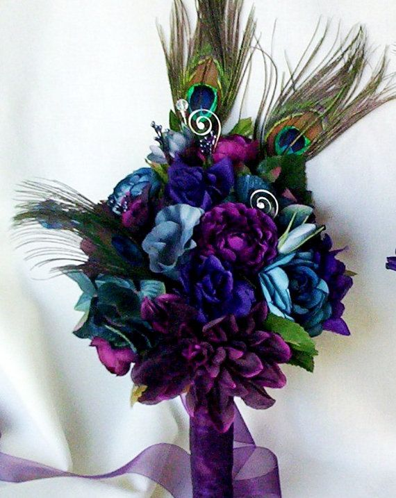 Wedding accessories Peacock Bridal Bouquets Plum, Purple,Teal, Oasis Silk Wedding Flowers custom colors feather bokay package for Lesley via Etsy