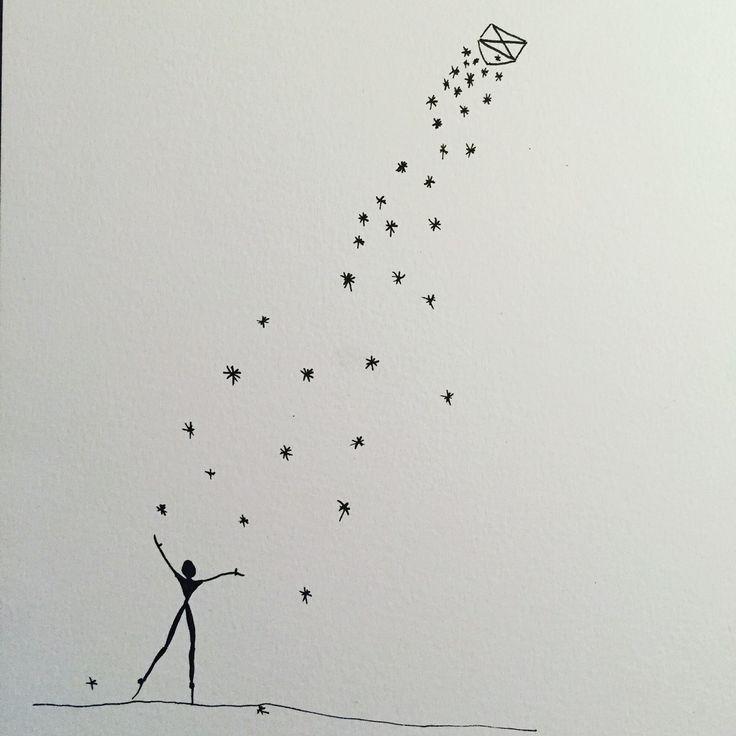 Akvarel med stjerne drys
