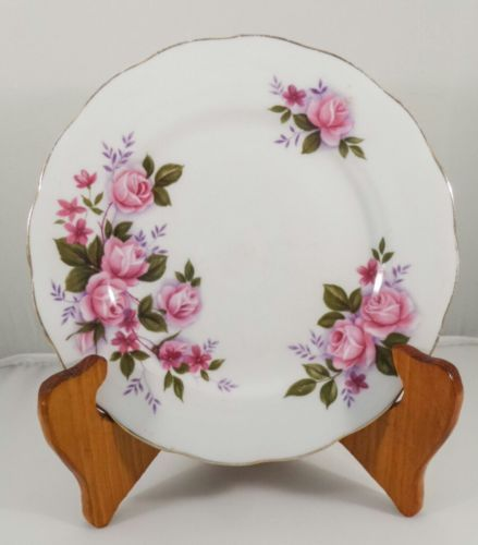 Vintage Queen Anne Pink Roses Bone China Side Plate Salad plate England