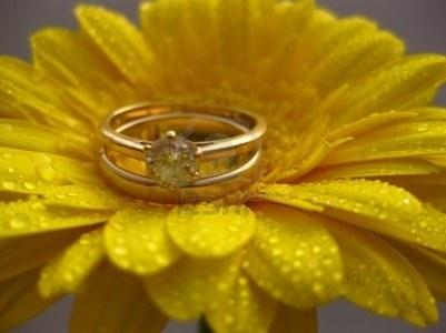 A spring wedding: bridal set and yellow daisy Stock Photo
