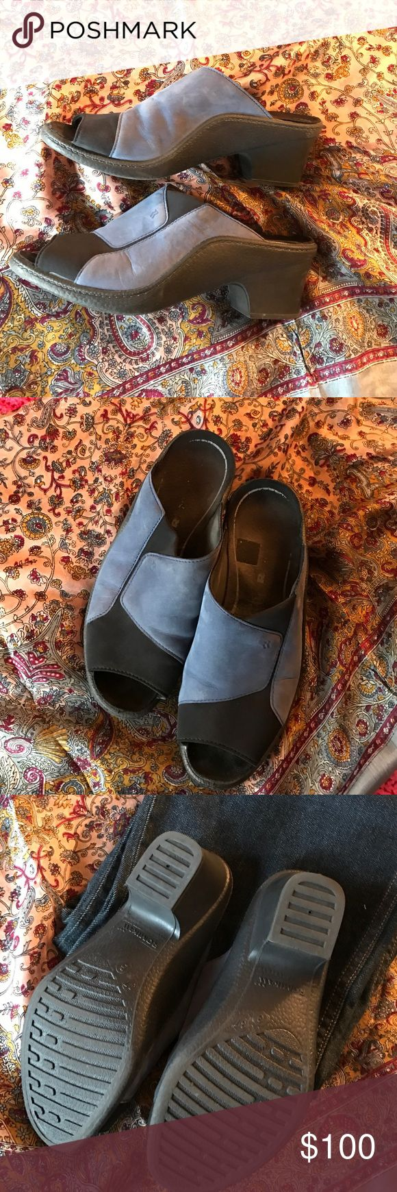 Blue suede shoes!! Black and blue suede slides.  Romulus (similar to Mephisto). Size 37 (US 7).  Very comfortable and supportive! Romika Shoes Mules & Clogs