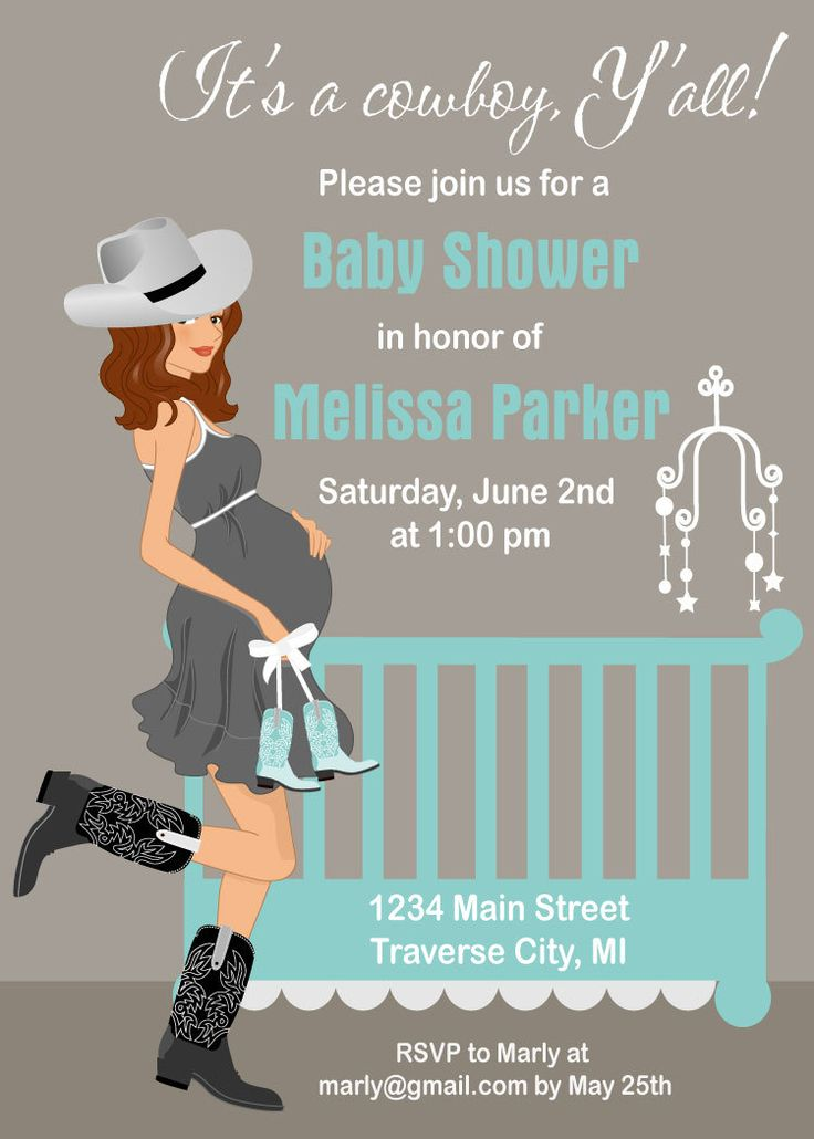 Cowboy Baby Shower Invitations - Country Western Crib Theme for A Boy - Digital File Available in African American