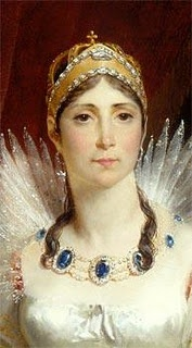 Empress Josephine of France wearing her sapphire and diamond necklace, divorced by Napoleon  because she bore him no children - check out his last words!