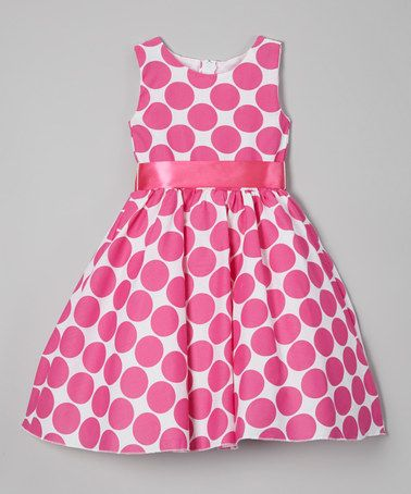 Look at this #zulilyfind! Fuchsia Polka Dot A-Line Dress - Infant, Toddler & Girls #zulilyfinds