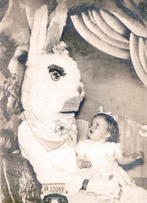 """24 Scary Easter Bunny Pictures: Creepy & Weird. What parent takes there kid to see that and thinks """"yea, this picture will be great!"""""""