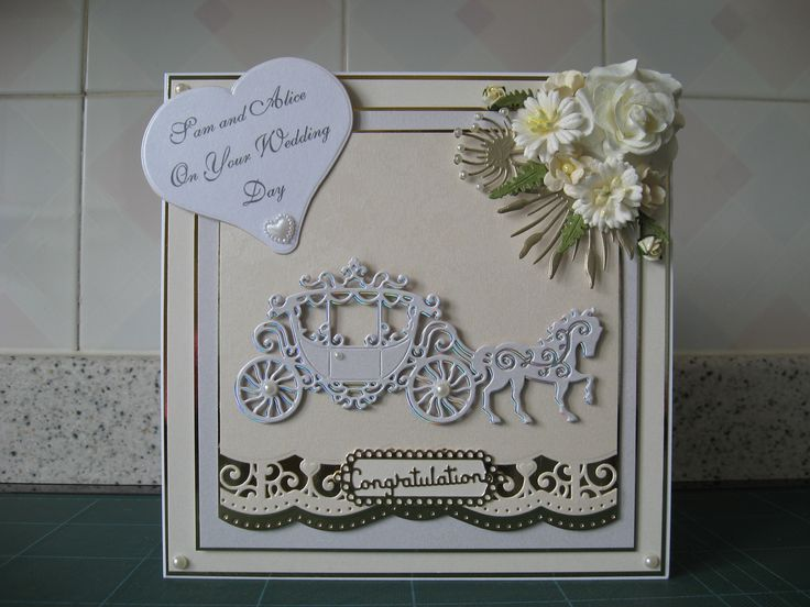 Wedding card made with Tattered Lace horse and carriage, Spellbinders borders and Wild Orchid flowers