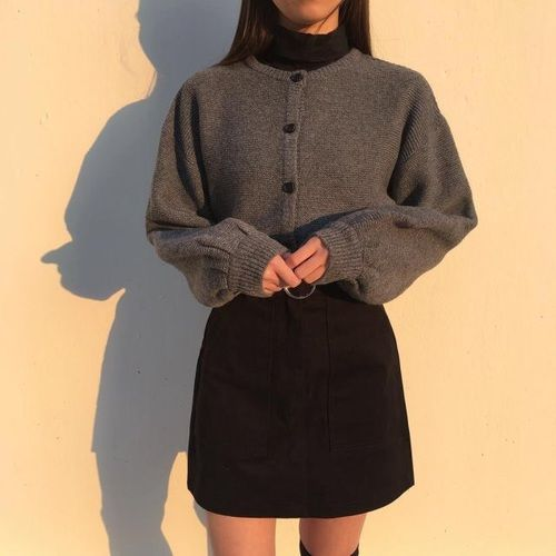 Cozy sweater and a nice black skirt