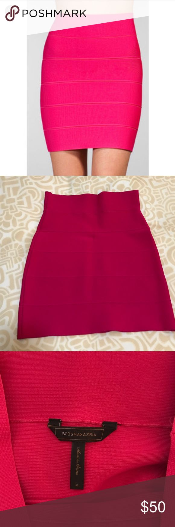 BCBG Simone Texture bandage skirt in hot pink BCBG bandage skirt in hot pink. Hits above knee. Size medium. Great condition - only worn a few times BCBG Skirts Mini
