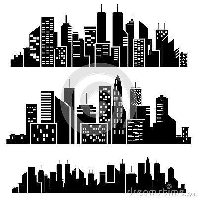 Silueta de las ciudades del vector