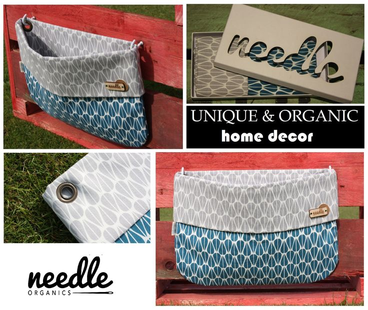 """WALLBAG """"Grey meets Blue"""" - decorate your home and use this bag to store the little things everyone has. Handmade with 100% certified organic cotton."""