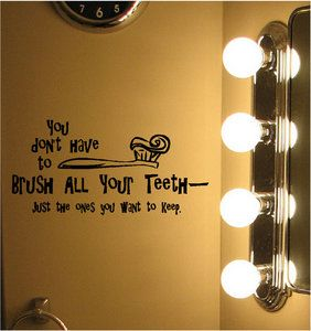 quotes for bathroom wall   ... All Your Teeth Bathroom Vinyl Wall Decor Decal Quotes Sticker   eBay
