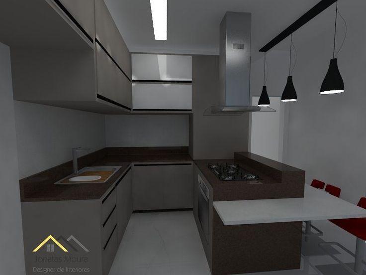 Cozinha compacta com ilha. Bancada em silestone Unsui e Iconic White, armários em Gianduia e vidro milk, pendente triplo e banquetas vermelhas.  .  #design #interiordesign  #designerdeinteriores #mdf #clean  #architecture #vray #sketchup #planejados #espelhos #silestone  #home #kitchen #reforma #mdf #ilha #tercafeira #painelmdf #painel #cozinha #render #cook #gianduia #coffee #unsui #white #cinex #milkglass