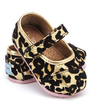 Love this Gold Leopard Glitter Mary Jane - Tiny by TOMS on #zulily! #zulilyfinds