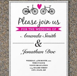Hot Pink Bicycle Hearts Wedding Invitation Template... Free Download! <3