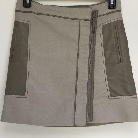 "Adolfo Dominguez Skirt Spanish designer Adolfo Dominguez wrap with skirt w/ faux leather detail. 17"" length. Adolfo Dominguez Skirts A-Line or Full"