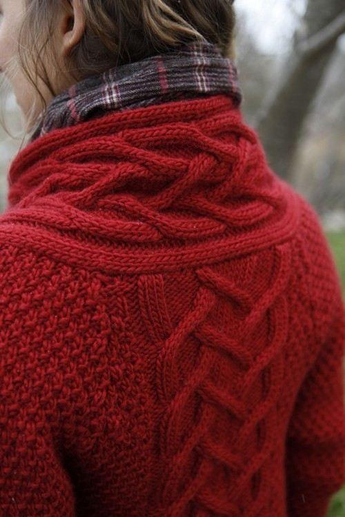crimson chunky cable knit + plaid!