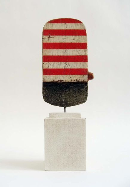2009  Jay Kelly  Metal, Wood, Gesso, Acrylic.    5 x 2.75 x .25 inches     Wood Base    2.75 x 2 x 2 inches SOLD Untitled #224