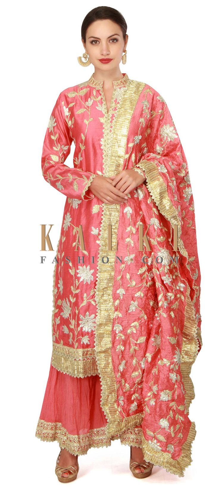 Buy now Coral suit in gotta lace with palazzo pant only on Kalki