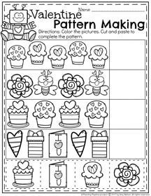 Valentine Patterns Worksheet for Preschool