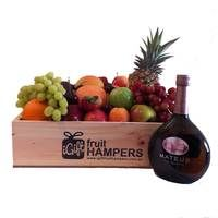 Mateus Rosé Gift with Fruit  Fruit Hampers for all Occasions - say it with fruit! *BIRTHDAY* *THANK YOU* *CONGRATULATIONS* *HOUSE WARMING* *FOR HIM* *FOR HER* *NEW BABY* *GRADUATION* *MOTHERS DAY* *I LOVE YOU* #fruithampers #gifthampers #australiangifts #corporategifts