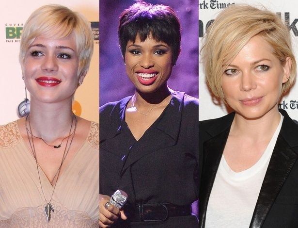 Da esq. para dir., Leandra Leal, Jennifer Hudson e Michelle Williams: todas adeptas dos fios curtos