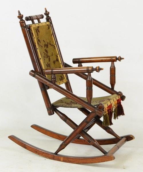Eastlake Victorian Folding Rocking Chair.