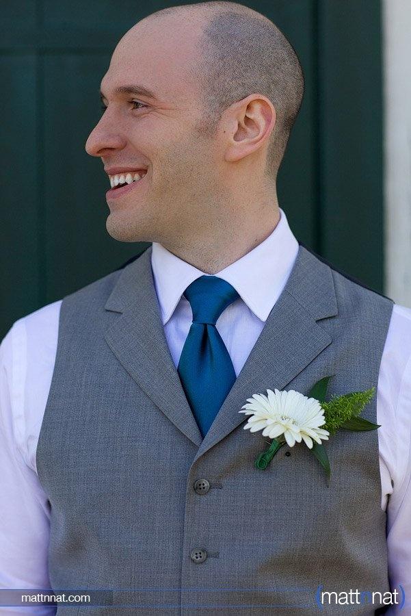 Groom, grey suit, Landis Valley Museum