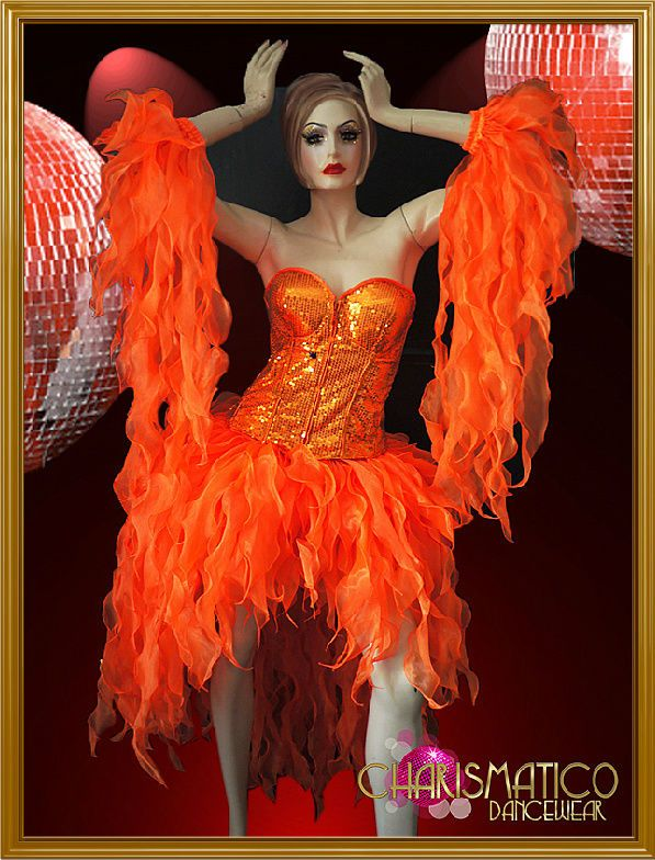 orange corset styled organza flame ruffled divas fluffy dress halloween costume - Halloween Costume Fire